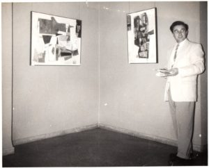 "Emily Sansone, Lenny's wife, described this photo saying ""A historic photo- taken in Havana, Cuba - just before Castro came into power. We [Lenny and Emily] were there Nov. 1957 with Ethel Fisher and others. Ethel was invited to show her paintings at the Museum in Havana (shown behind Lenny)."""