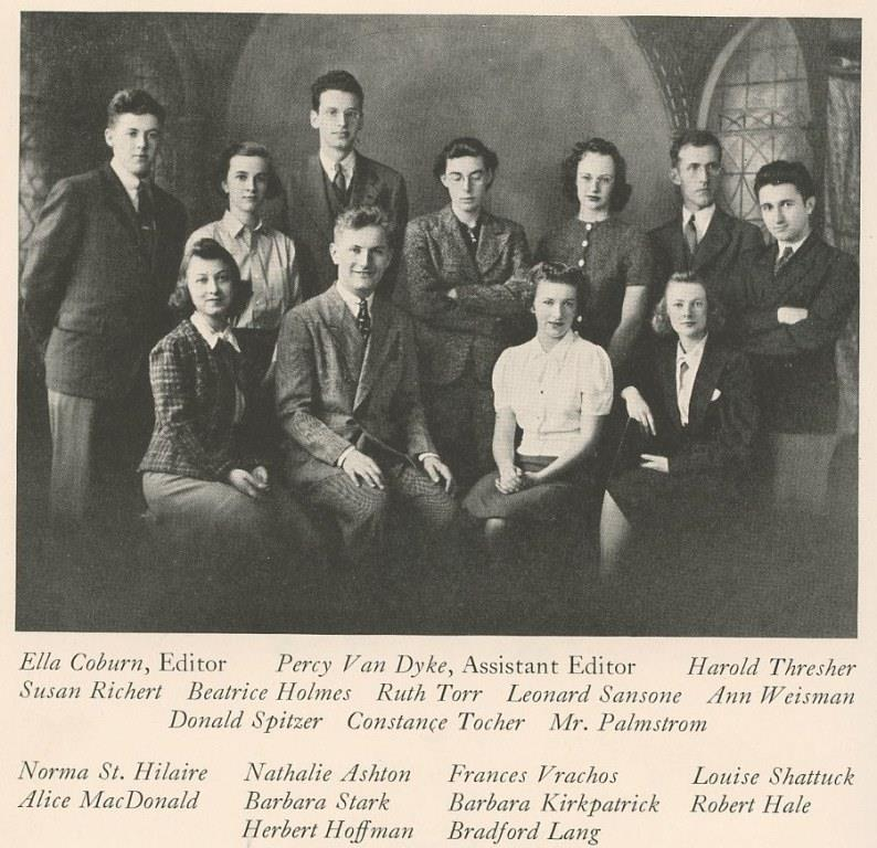 Lenny (in the back row, far right) was on his college yearbook staff. for the 1939 Massachusettes School of Art yearbook