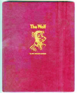 Here's the embossed picture on the book boards, a wonderful surprise image that can be seen when the dust jacket is removed (from The Wolf, published 1945)